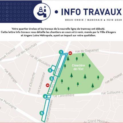 Tram Angers, travaux Deux-Croix-Banchais